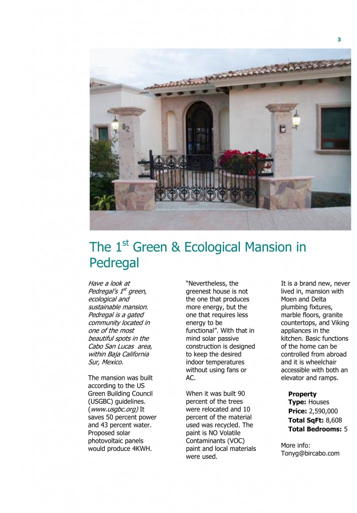 The Green Trend in Real Estate - Sustainable Mansion in Pedregal, Cabo, BCS, Mexico